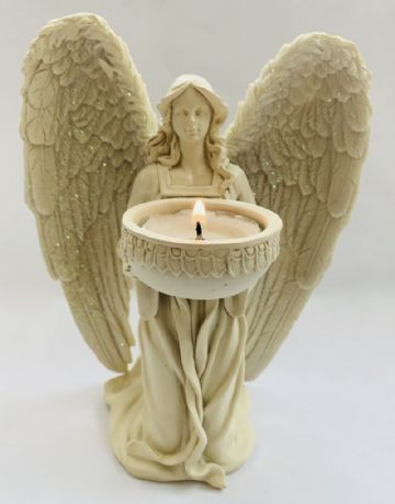 Guardian Angel KNEELING & PRAYING Tea Light Holder